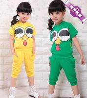 2014 children's clothing short-sleeve shorts set male female child harem pants casual sportswear