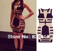 new 2014 sleeveless dress, sexy, party bandage dress, printed  nightclub explosion models fashion evening dress women