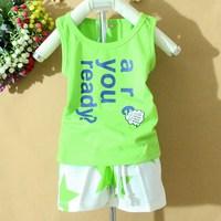 Children's clothing 2014 male child 100% sleeveless cotton t-shirt set baby boy vest shorts set
