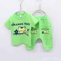 Children's clothing baby set 2014 set 1234 male female child cartoon child short-sleeve set