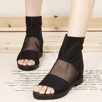Black open toe sexy gauze fashion flat heel boots ol ankle boots elevator women's the trend of the four seasons single shoes