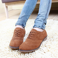 2014 genuine leather casual scrub flat heel fashion shoes carved leather preppy style Women shoes