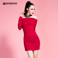 2014 spring women's sexy slit neckline strapless slim hip slim one-piece dress party dress