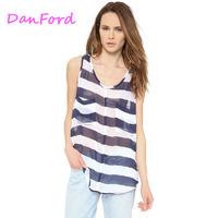 Women Stripe Chiffon Summer Causal Tank For Women DF-00078