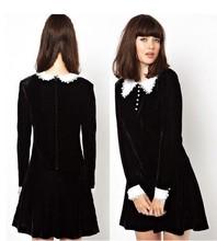 J636 black velvet long sleeves lolita dress victorian gothic white collar(China (Mainland))
