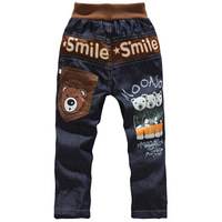 Winter Fashion bear pattern child jeans thickening cotton-padded 100% cotton children's pants boys clothes