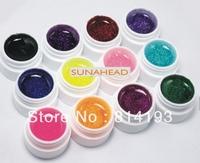 2014 Free Shipping 12 Color Glitter UV Gel Builder False Tips Acrylic Nail Art Polish Kit Set