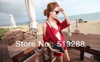 fashion red three-piece suit  off-the-shoulder dress bikini set sexy swimwear swimsuit with cover-up beach dress 3pcs/set