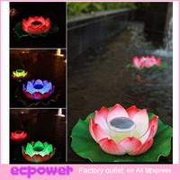 LED Solar Lotus Lantern Water Float Light Colorful LED Floating Yard Pond Garden Pool Night Light 1PCS Free Shipping