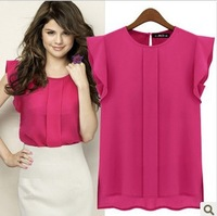 New fashion fly sleeve chiffon short-sleeved women's blouse  JH-BL-003