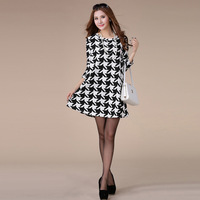 Free shipping new 2014 spring summer casual women dresses plaid black white regular long sleeve loose fat big plus size fat A248