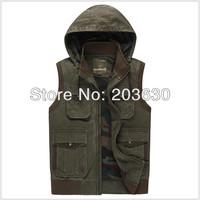 Spring 2014 Hot Sale vest men casual waistcoat hooded men's clothing cotton denim vest 2colors men fishing vest free shipping