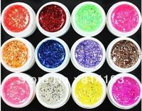 2014 Free Shipping 12 Pcs Mix Color Glitter Hexagon Sheet Nail Art UV Builder Gel for False Tip Set