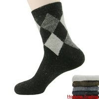 Men  wool socks in tube socks for men thickening diamond flower Gatti wholesale Freeshipping