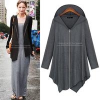Plus size 2014 spring thin outerwear ultralarge women's 300 irregular zipper long design cardigan 661