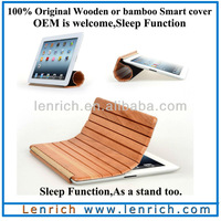 LPC5802 Wholesale smart bamboo cover for ipad2 3 4 natural wood smart cover with sleep function DHL Free shipping