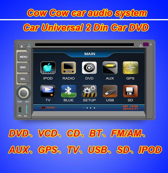 Cheapest GPS Navigation universal 2 Din Car DVD Player 7 inch Screen GPS Bluetooth IPOD TV FM Rear Camera Radio Steering Wheel(China (Mainland))