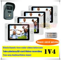"8"" Video intercom with SD card record/video intercom door bell phone +Vandal-proof/Waterproof outdoor unit (1 Camera+4 Screens)"