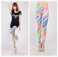 2014 Women New Sexy Color Feather Tattoo Leggings Stretchy Printing Leggings pants Free shipping