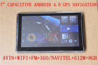 "FREE SHIPPING 7"" Capacitive CAR GPS NAVIGATOR /NAVIGATION ANDROID4.0+AVIN+FM+WIFI+IGO PRIMO+MULTI-LANGUAGES+512M+1.2GHZ+8GB"