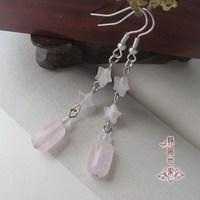 Tassel earrings natural pink crystal drop earring