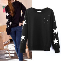 HOT HOT HOT 2014 spring fashion embroidery five-pointed star straight long-sleeve pullover sweatshirt Women top