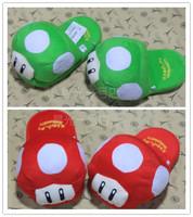 Free Shipping 1 pair Super Mario Brothers Mushroom Plush Slipper Gold mushroom slipper Golden mushroom slippers toy