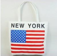 2014  Free shipping+hot sale USA flag printed canvas bag shoulder bag special environmental protection bag fashion handbag