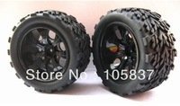 4pcsx RC Rubber Sponge Tires Tyre Wheel Rim HSP 1:10 Monster Bigfoot Truck 88025