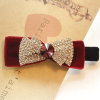 Velvet bow rhinestone hairpin duck clip hair accessory side-knotted clip hair accessory exquisite