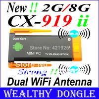 CX-919 II TV BOX Mini PC J22 Android 4.2 TV Stick RK3188 Cortex A9 Quad Core Dual Antenna HDMI Bluetooth 2G/8G Free Shipping