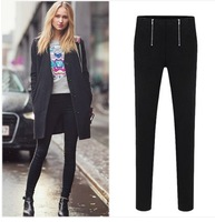 2014 Spring new women's feet pencil pants leisure trousers show thin panty leggings black