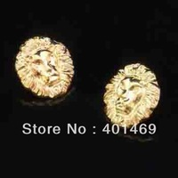 Hot 2014 gold lion head charm 12Pairs lot stud earrings fashion jewelry