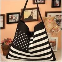 2014  Free shipping+hot sale black and white USA flag printed canvas shoulder bag fashion environmental protection bag