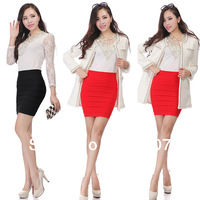 2014 new sexy Candy colors Slim thin package hip mini skirts women tight skirt high waist one-step pencil skirts