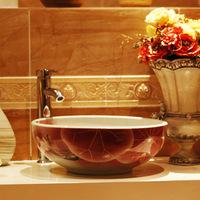beautiful jingdezhen art porcelain red lotus flower basin for bathroom