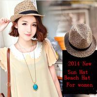 cheap !2014 summer new Korean fashion hollow breathable hemp women straw hat Sun Hat R29 Free Shipping