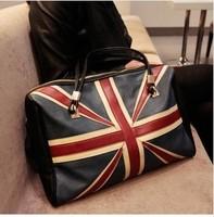 2014  Free shipping+hot sale black and white UK flag printed PU shoulder bag briefcase handbag fashion