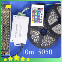 New DIY Waterproof 10M 5050 RGB LED Strip + 24Key IR Controller + 12.5A Adapter 5050 RGB LED Strip Light Set Free Shipping