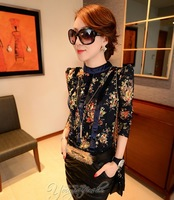 Spring 2014 new women blouses long sleeve flower print lace blouse O-Neck women shirt blue