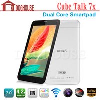 In Stock! Cube Talk 7X 7 Inch Android 4.2.2 MT8312 Dual Core 1GB Tablet Phone With Dual Sim Dual Camera Support Multi Languages