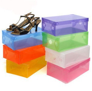 Free shipping, clear plastic shoe boxes shoebox thick clamshell drawer storage shoe boxes(China (Mainland))