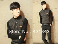 2014 men's clothing autumn and winter thick sanded male  slim fit  Men long-sleeve shirt