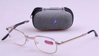 Hot Fashion 100-400 Degree Folding Metal Reading Glasses Brand Optical Glass Men Women Male Female Presbyopic Glasses With Case