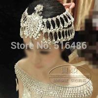 Princess wedding Bride handmade crystal beaded hair accessory indian forehead jewelry platform prom crown sparkly headpiece