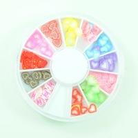 12 Color Heart Fimo Clay Sticker Nail Art Tips Decoration Wheel