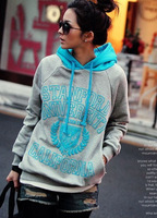I new arrival 50 print color block hooded fleece sweater decoration