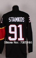 Free Shipping #91 Steven Stamkos Men's 2014 Red/Black Ice Hockey Jersey Authentic Stitched Cheap Sale