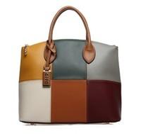 HotsaleHotPromotion Trend women's oppo handbag big bag 9666-6  color block handbag vintage messenger bag