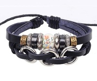 Free shipping!!!Cowhide Bracelet,Sexy jewelry, Zinc Alloy, with Wax Cord & Porcelain & Cowhide, handmade, 2-strand, nickel
